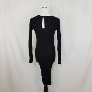 Aqua Dresses - NEW Aqua Black Ribbed Knit Lace Up Sheath Dress